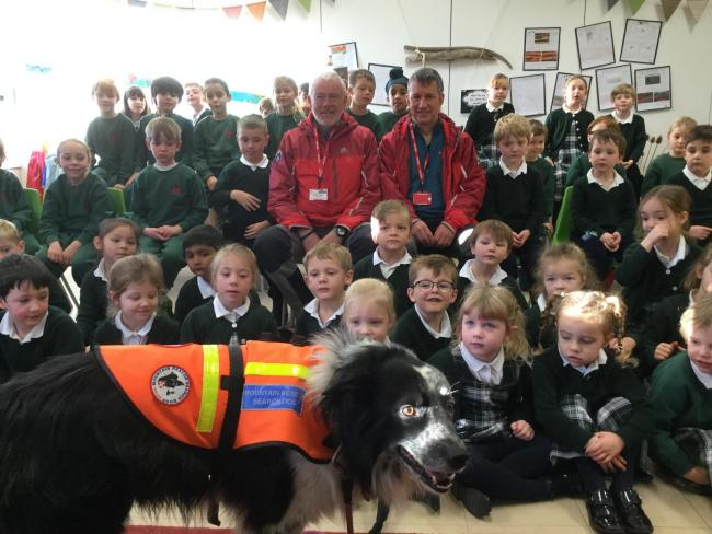 Mountain rescue team volunteers took rescue dog Roy to visit Mowden Hall school. Photo: submitted by school on November 21.