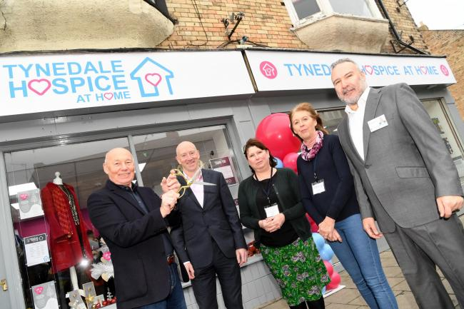 Bryan 'Pop' Robson opens the new Tynedale Hospice at Home shop alongside the hospice's chief executive Mike Thornicroft, shop manager Marie Hepplewhite, volunteer Janet Orrock and retail support manager David Parkinson.