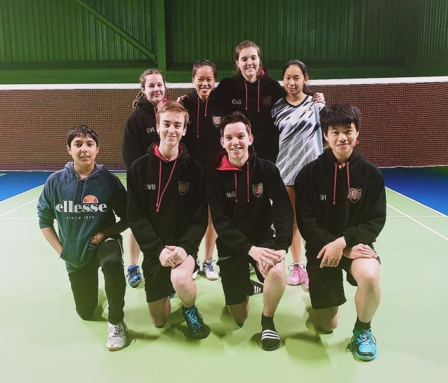 The Northumberland U18 badminton team which won against Cumbria.