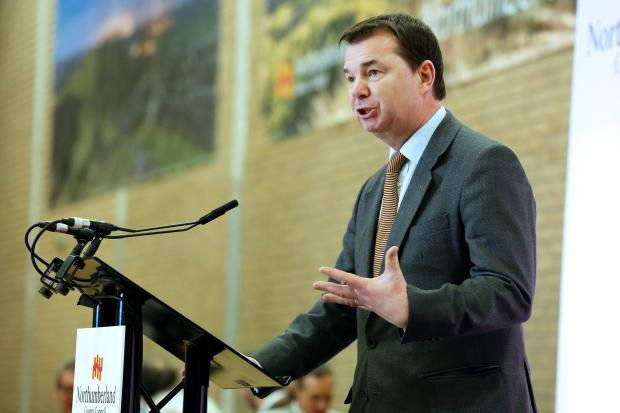 Hexham's MP Guy Opperman delivers his victory speech at the count at Blyth Valley.