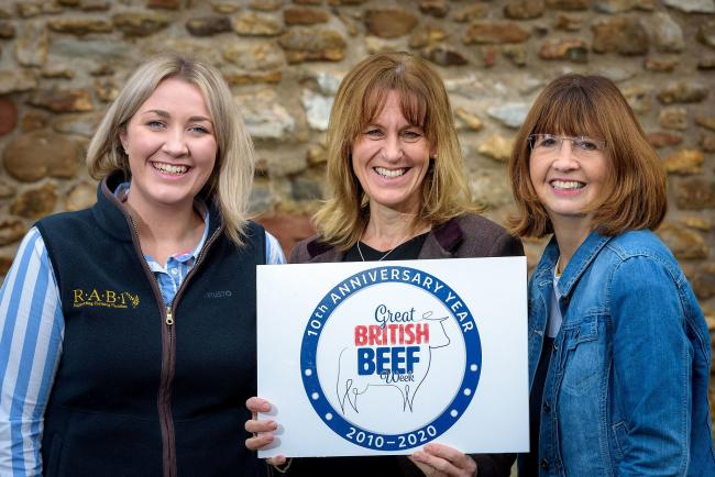 From the left, Laura Ractliffe from R.A.B.I, NFU President Minette Batters and Jilly Greed.               Photo: MARK COX