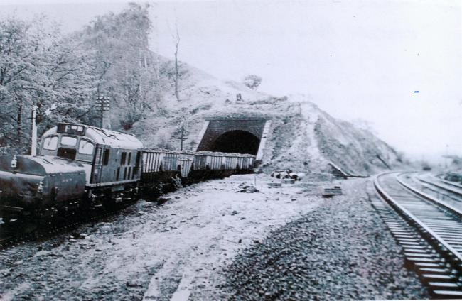 A 1962 photograph of the Tyne Valley railway line cutting, past the old Farnley Scar Tunnel, near Corbridge.