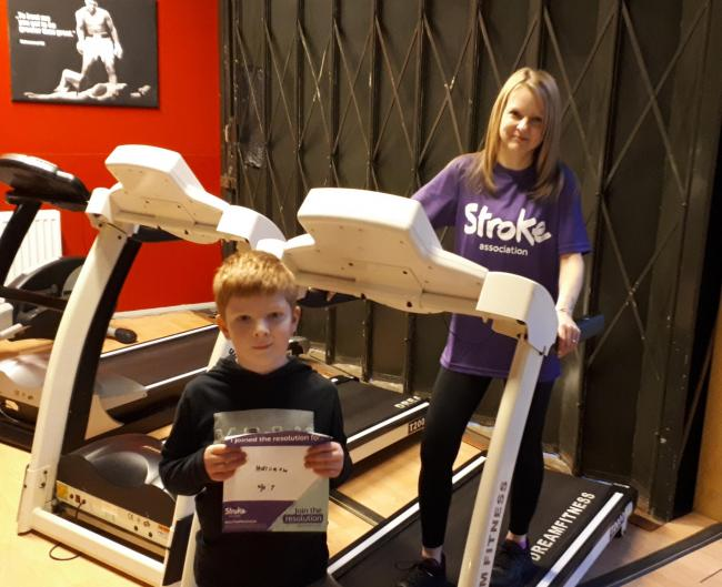 Marie Eke in training for the inaugural Resolution Run at Bellingham Gym after being inspired by her son Harrison, who suffered a stroke aged six years old.