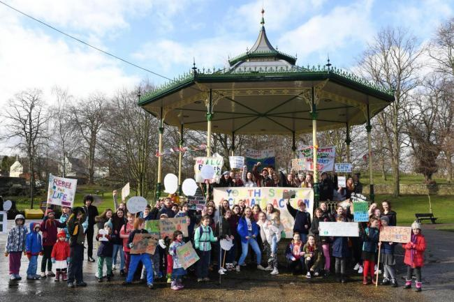 Schoolchildren in Hexham protested for climate action. Photo: KATE BUCKINGHAM