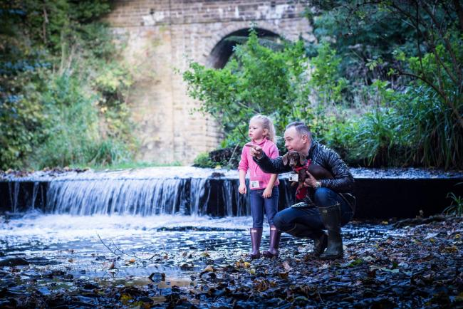 Jesmond and Ouseburn water ranger Nick Atkinson with assistant Grace and their dog Sizzle at Jesmond Dene.