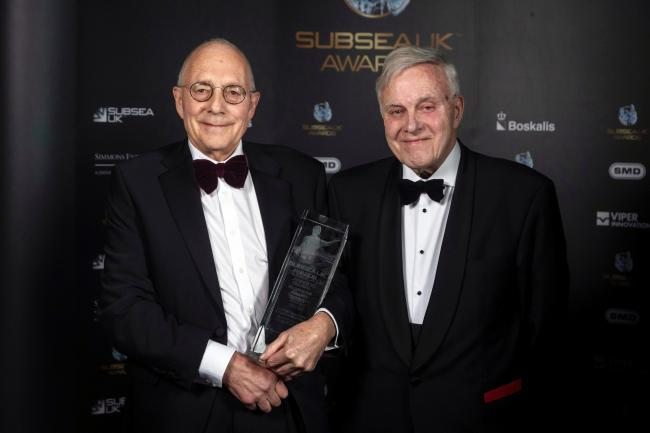 Tony Trapp (left) receives his award from Bill Edgar, chairman of Subsea UK.