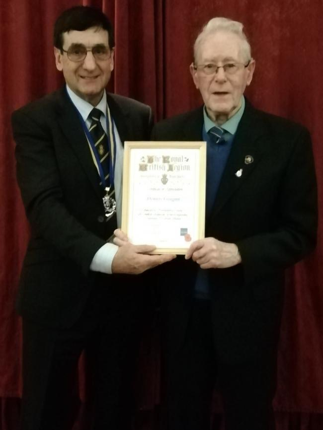 Dennis Grugan (right) with RBL Northumbria president Eric Ingram MBE Deputy Lieutenant.
