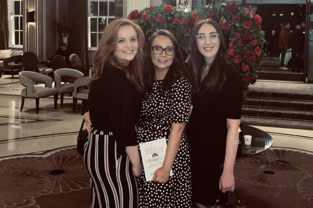 From the left, Matfen Hall's wedding co-ordinator Laura McGonnell, sales and revenue manager, Victoria Patton and events assistant Rachel Prince, at the UK Wedding Awards.