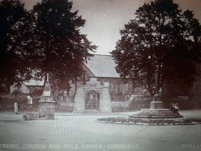 An image of St Andrew's Church and Pele Tower in Corbridge, believed to date back to the 1920s or 1930s. 			            						            Photo: CORBRIDGE OF YESTERDAY