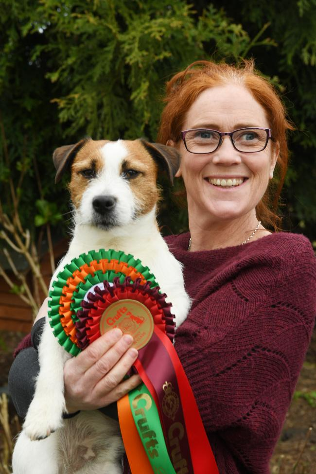 Sue McCabe with Jellybean, who excelled at Crufts.