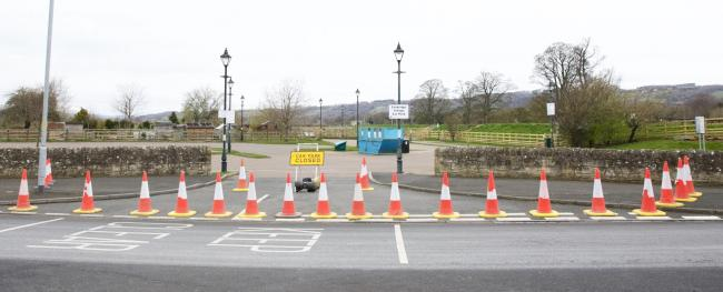 Corbridge village car park was closed on Saturday, March 28, 2020. Photo: Ian Wylie.