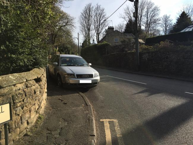 A silver Audi collied with a wall on Dipton Mill Road.