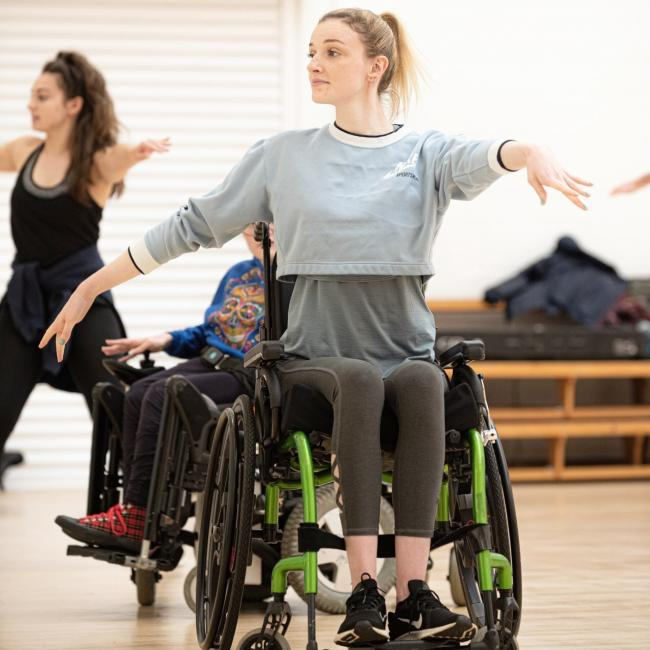 Kate Stanforth, from Stocksfield, performing a dance routine from her wheelchair.