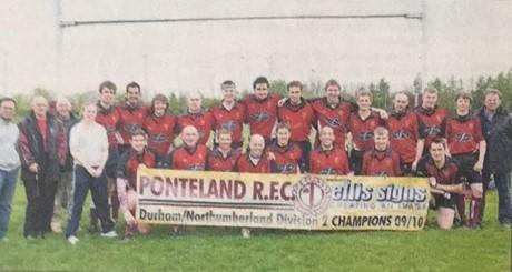 Ponteland RFC's first team celebrate winning the Durham and Northumberland League II title in 2010.