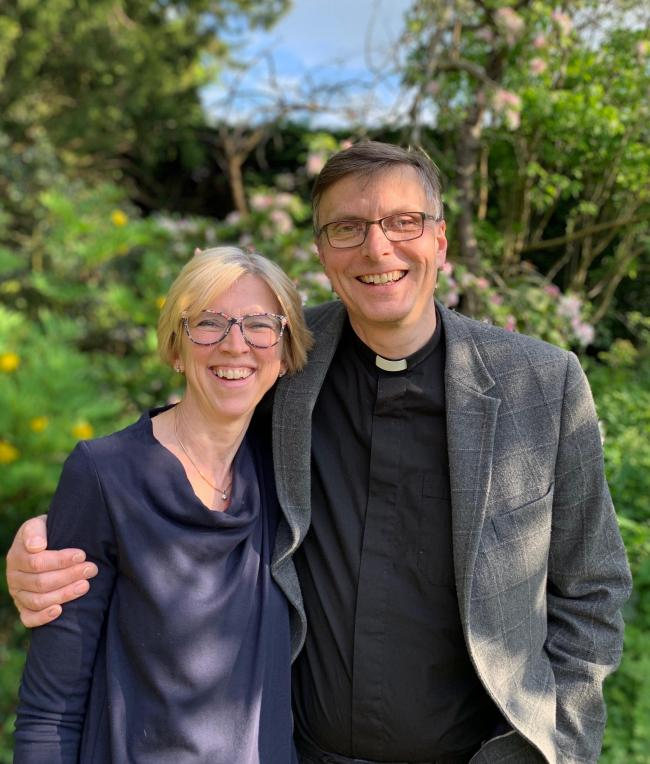 New Rector of Hexham David Glover with his wife Emma.