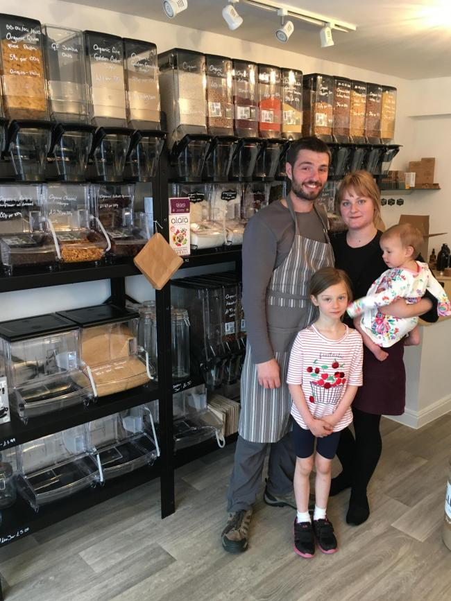 David Pass and Annie Docwra with their daughters Elsie and Eloise at The Refill Station in Hexham.