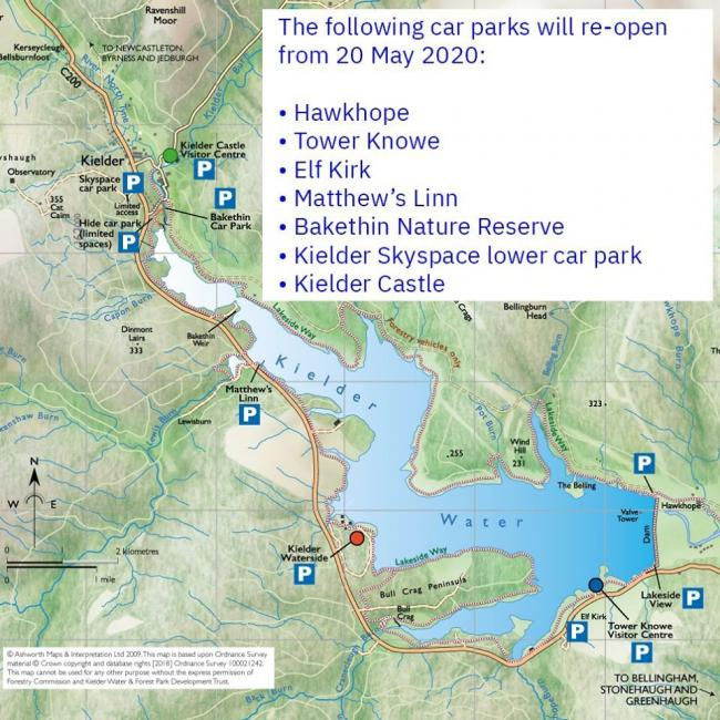 A map of the car parks open at Kielder from Wednesday
