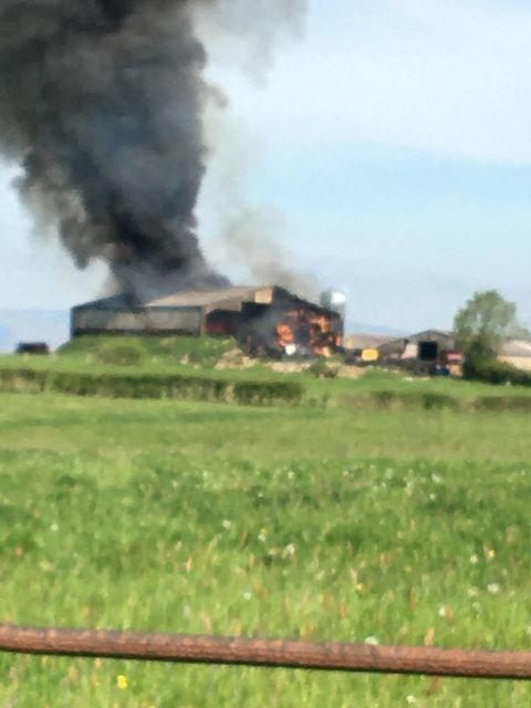A huge fire has broken out at a farm in Mitton