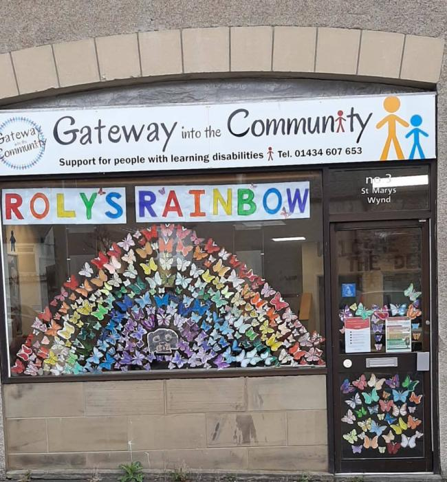 The window at Gateway Into the Community's base on St Mary's Chare, which has been decorated with butterflies drawn by members.