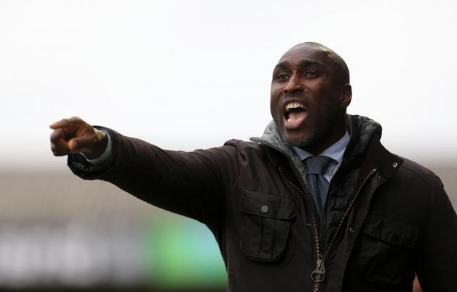 Southend United manager Sol Campbell gestures on the touchline during the Sky Bet League One match at Roots Hall, Southend..