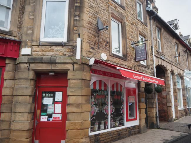 The Haltwhistle Post Office and Centre of Britain Sweetshop before the cash machine was removed.