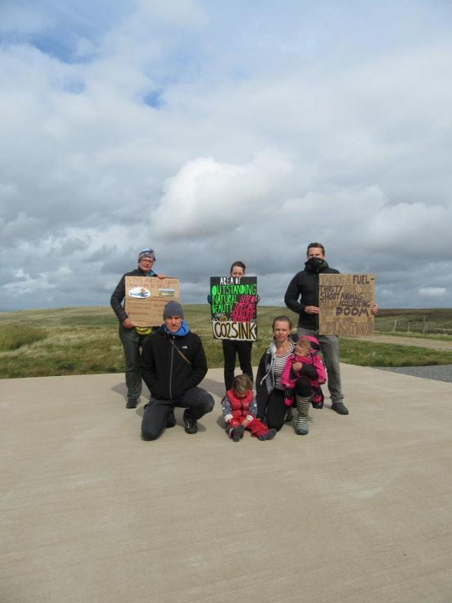 Extinction Rebellion Tynedale protesters at the helipad , near Allenheads.