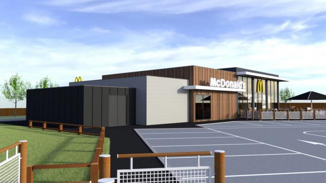 This image, which forms part of the planning application, shows the design of the proposed McDonald's restaurant.