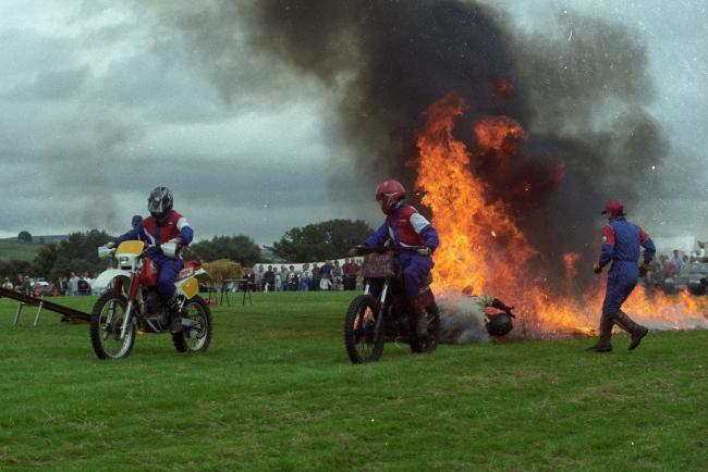 Crowds were wowed by the fiery display of a motorbike stunt team at Bellingham Show in 1998.