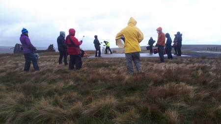 Extinction Rebellion protesters at the helipad near Allenheads.