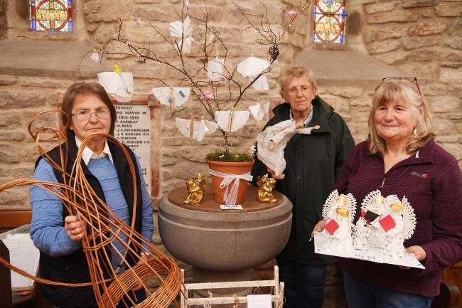 Val Coulson, Dorothy Summers and Roz Ronaldson with some of the Angels in Ninebanks Church, part of the 2019 Allen Valleys Angel Festival.