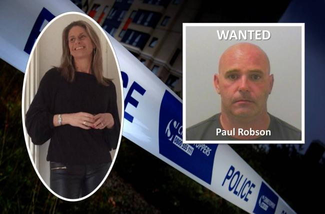 Police are hunting for Paul Robson following the death of Caroline Kayll (left).