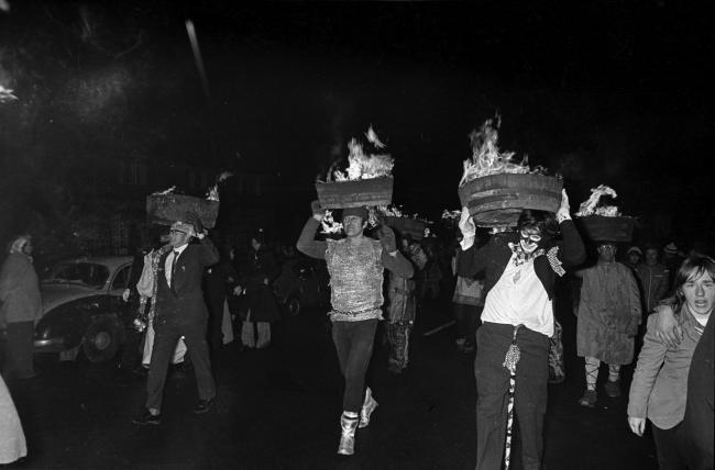 An old picture shows how long the tradition of the Allendale Tar Bar'ls, which sees a group of local guisers carry whiskey barrels full of burning tar through the streets, has been going on.