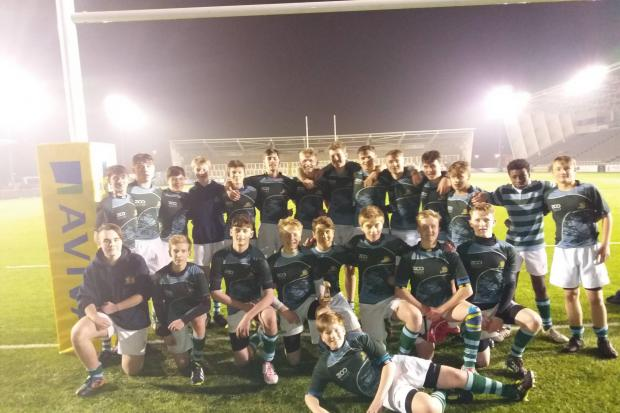 The Queen Elizabeth High School team which finished runners-up in the Northumberland Schools U15 Rugby final to King Edward VI School, of Morpeth, at Kingston Park.