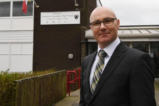 Ponteland High School headteacher Kieran McGrane outside the former school building.