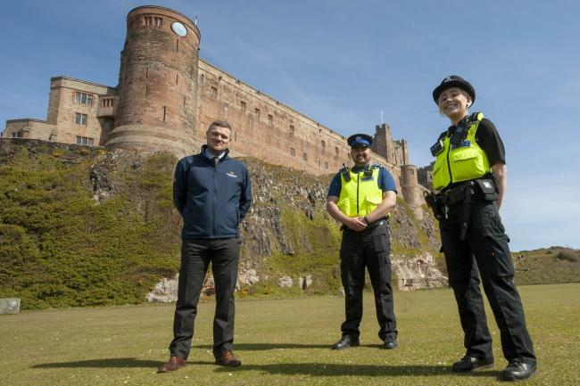 PC Kerry O'Donnell and PCSO Rob Younger pictured with Northumberland County Council neighbourhood services manager, Stephen Wardle.