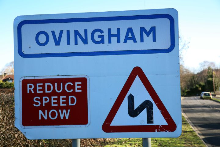 Ovingham Village sign opposite the Middle School. Photo: T051671.