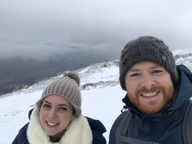 Stuart Brown and Samantha Curtis when they climbed Helvellyn in February this year.