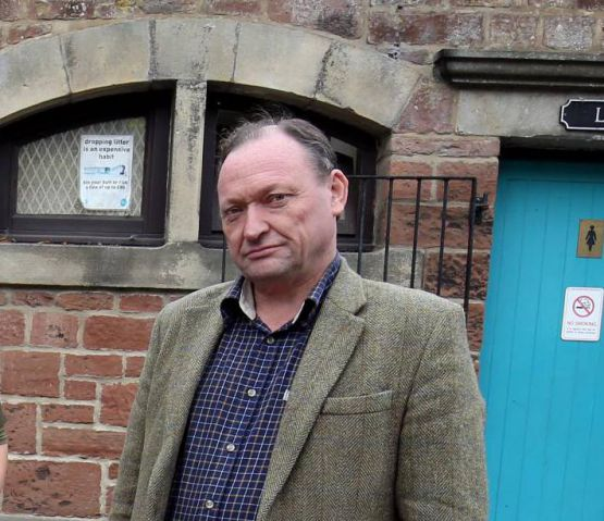 Coun. Alan Sharp angry at the state of Haltwhistle public toilets.