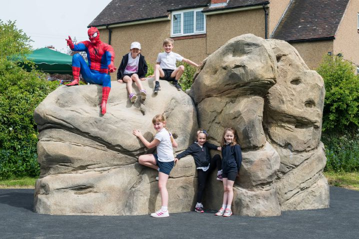 Spiderman unveils the new play park in Riding Mill. Photo: Natasha Holland Photography.