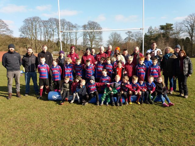 Players, coaches and parents from West Tynedale Junior Rugby Club.