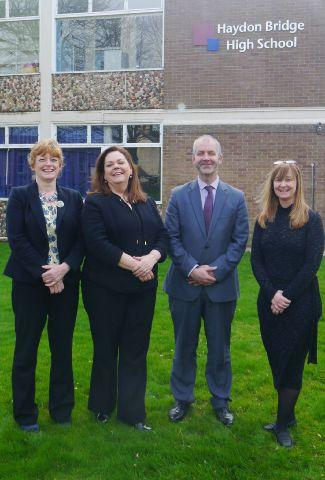 New principal Darren Glover with, from left, Dr Judith Greene, Helen McCormick, and Helen Jackson.
