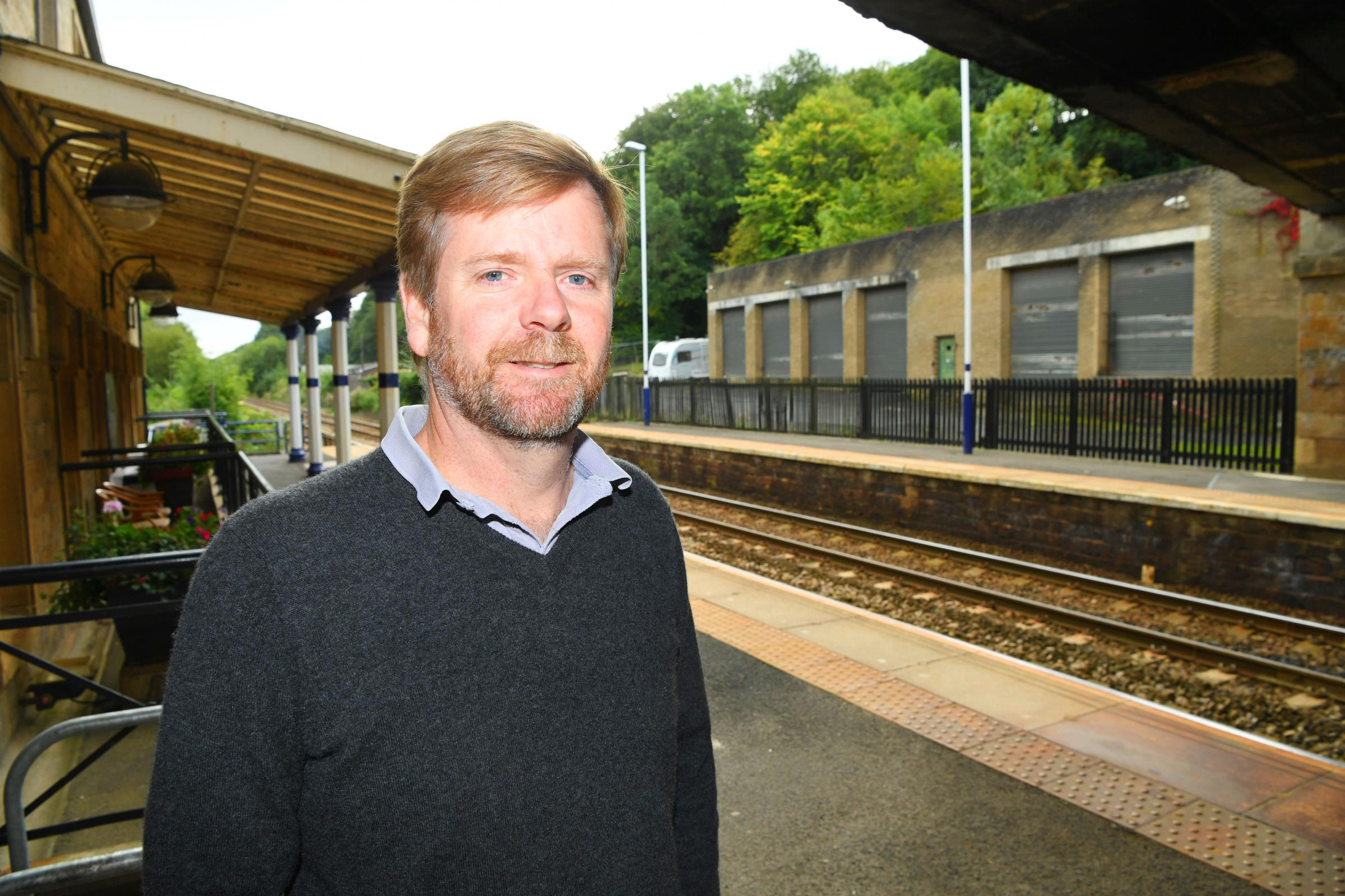 County councillor Nick Oliver at Corbridge Railway Station. HX391833