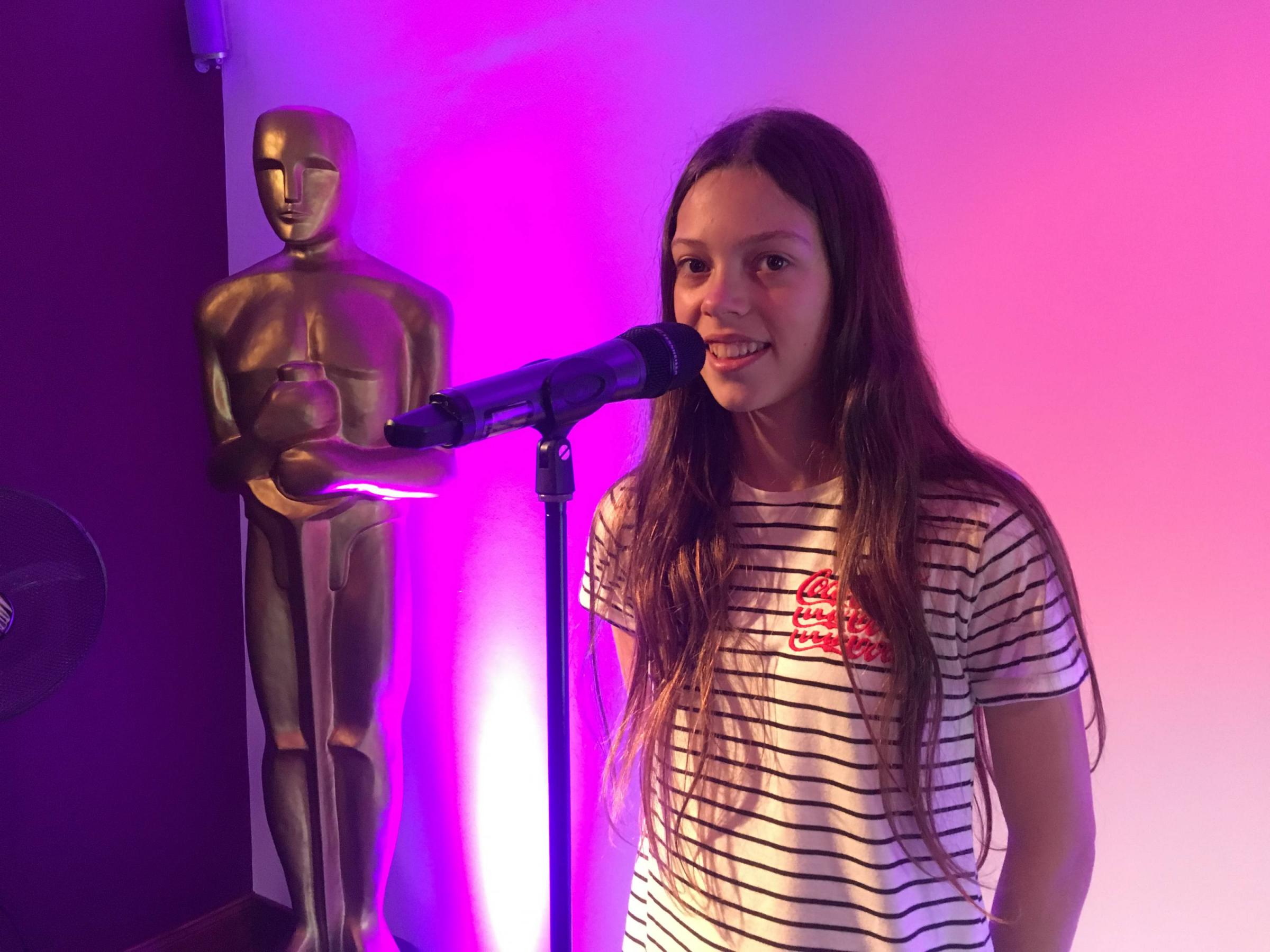 Courtney Hadwin at Julie Miles' Vocal Ovation studio. Photo: Hexham TV