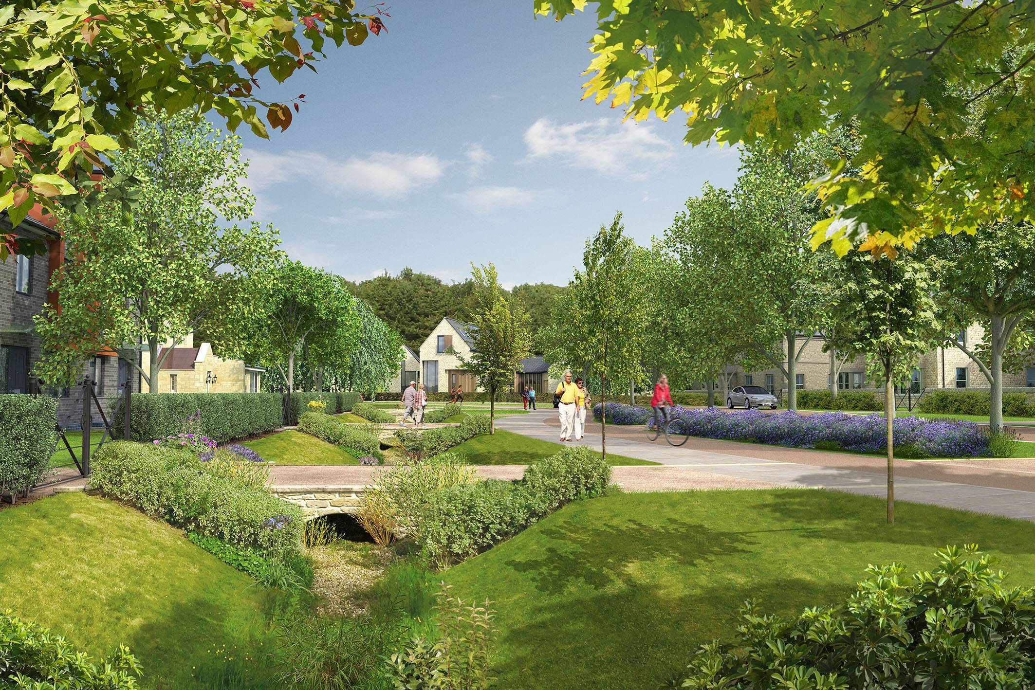 A visual shows how the centre of the garden village near Ponteland could look.