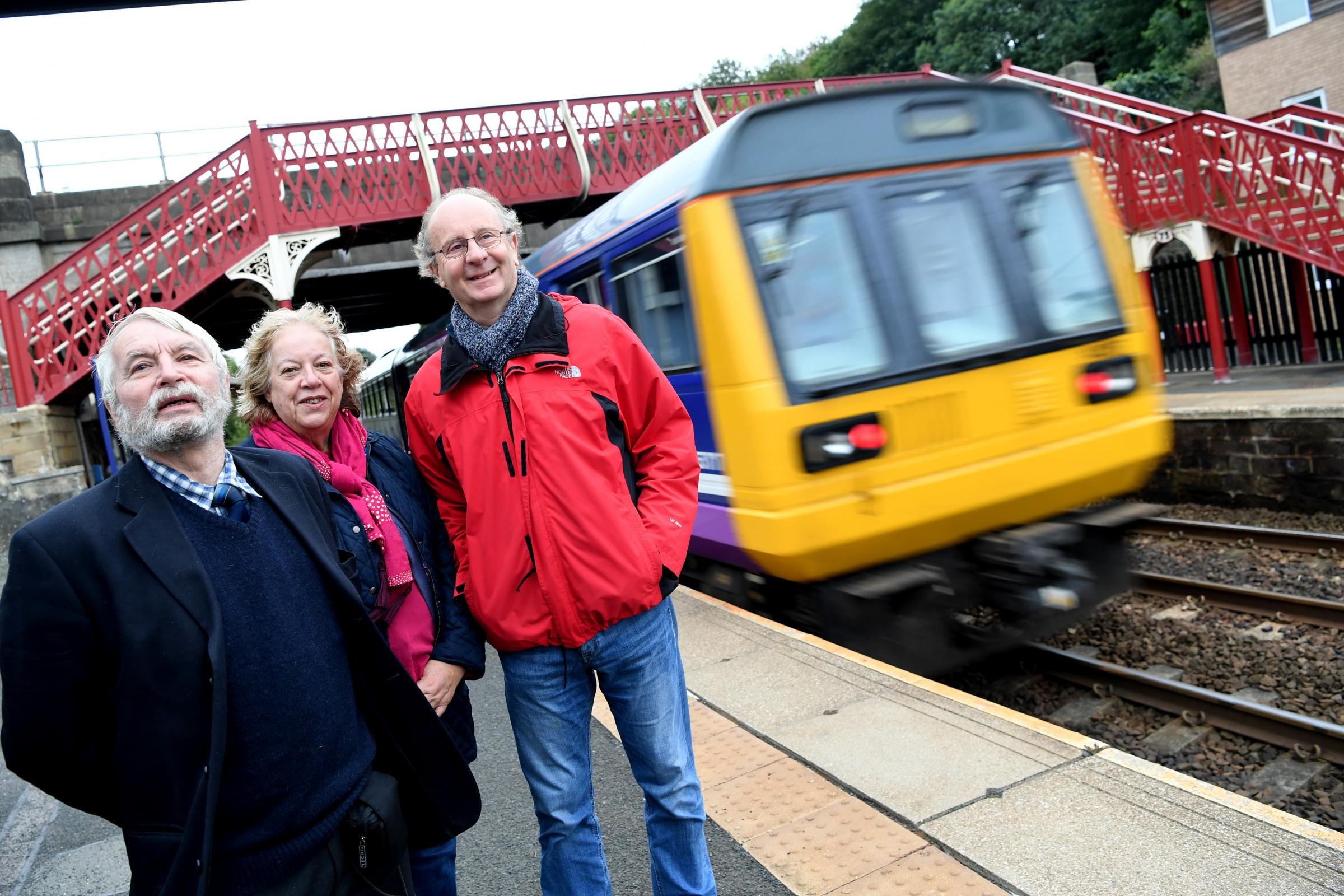Graham Curry and Liz and Paul Hagger at Corbridge Railway Station.