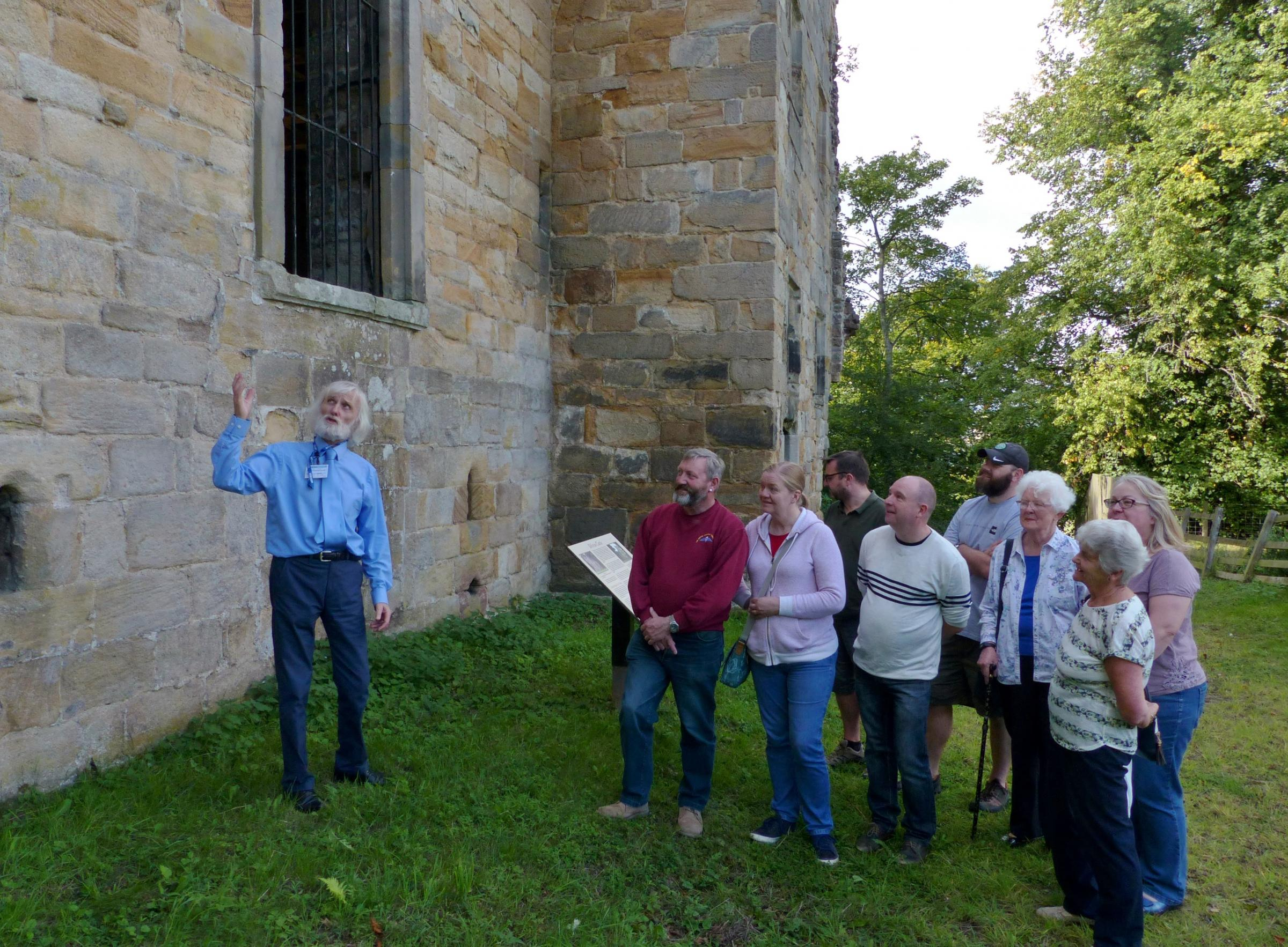 John Nicholls MBE show visitors around Dilston Castle and Chapel.