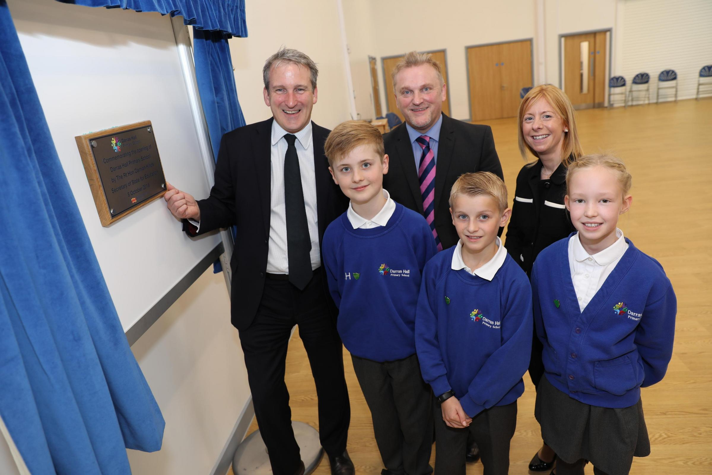 From the left, Education Secretary Damian Hinds, Northumberland County Council cabinet member for children's services Wayne Daley, headteacher Victoria Parr and head pupils Laurence Hattaway, Adam Secker and Charlotte Courtney at the unveiling of th