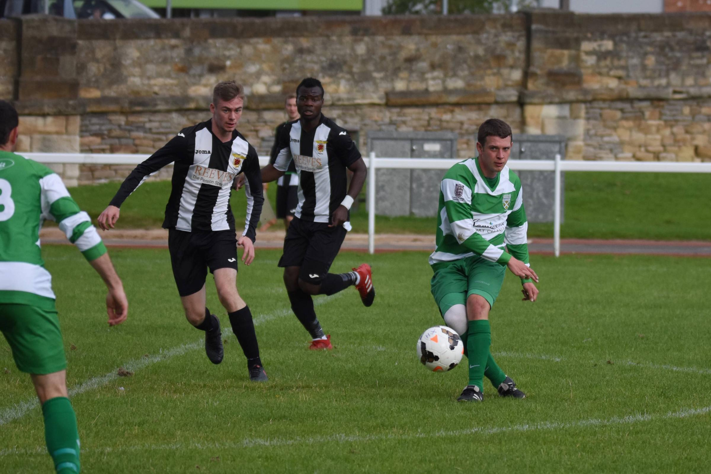 Kurtis Harvey (right) scored three for Hexham against Newcastle East End. Photo: www.andytphotos.com