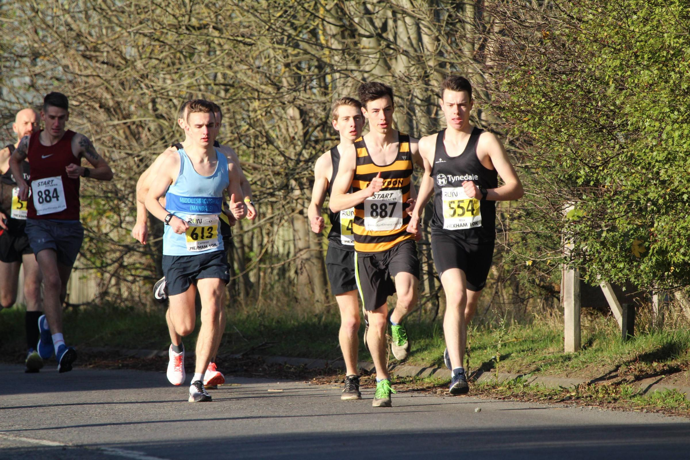 Max Pearson leads the way during last year's Hexham 10k.          Photo: ALAN CURRIE