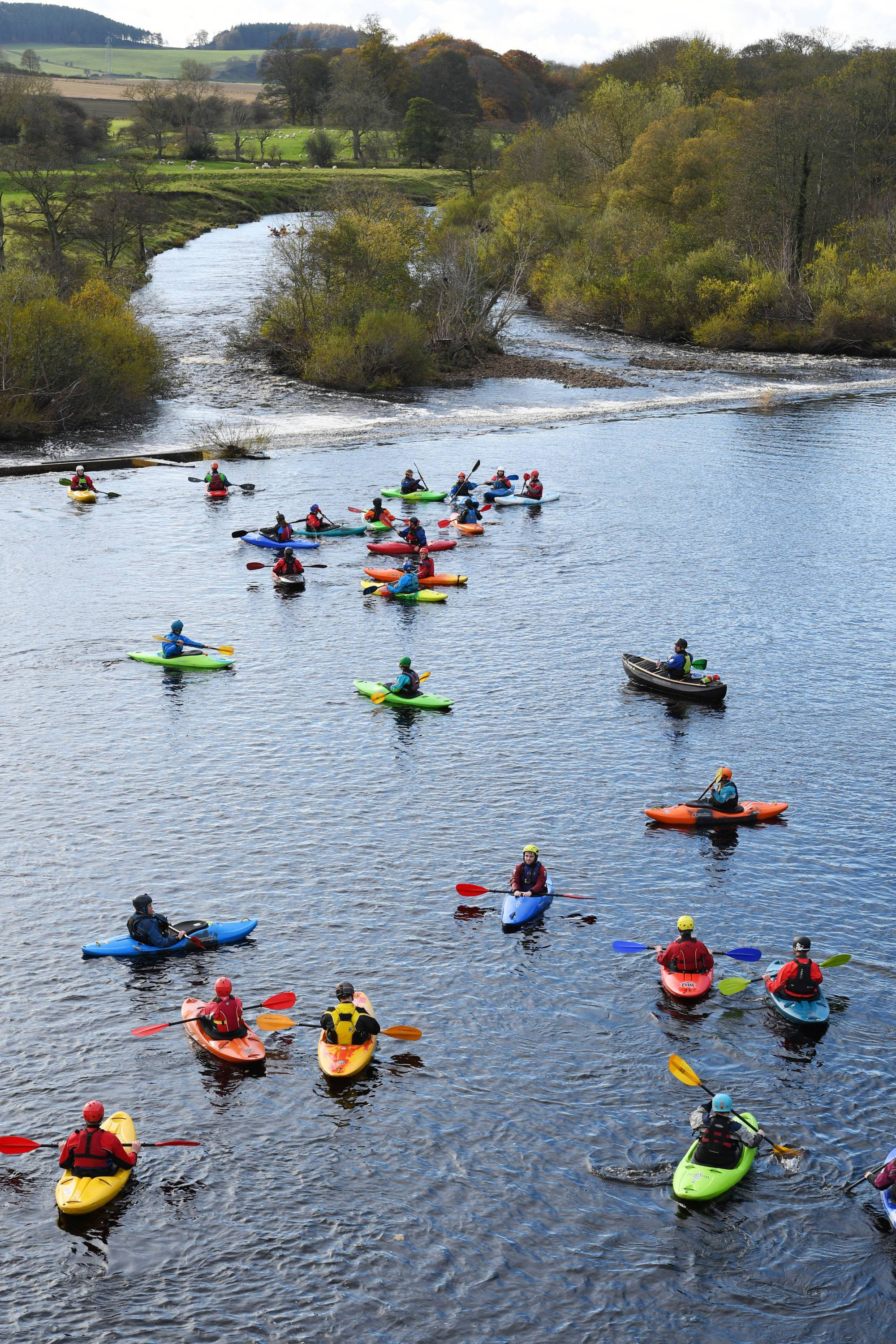Canoeists on the North Tyne near  Chollerford Bridge, during the Tyne Descent Race as part of last year's Tyne Tour.